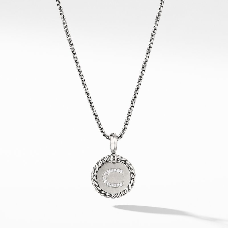 David Yurman Initial Charm Necklace with Diamonds
