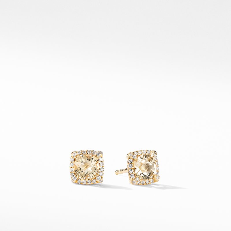 David Yurman Petite Chatelaine® Pavé Bezel Stud Earrings in 18K Yellow Gold with Champagne Citrine