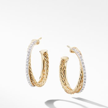 Crossover Medium Hoop Earrings in 18K Yellow Gold with Diamonds