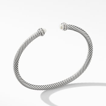 Cable Classic Bracelet with Pearls and Diamonds