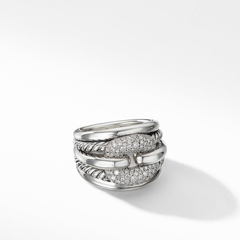 David Yurman Thoroughbred® Cushion Link Ring with Diamonds