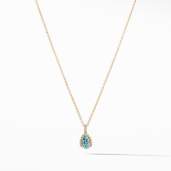 Cable Collectibles® Kids Teardrop Charm Necklace with Blue Topaz in 18K Gold