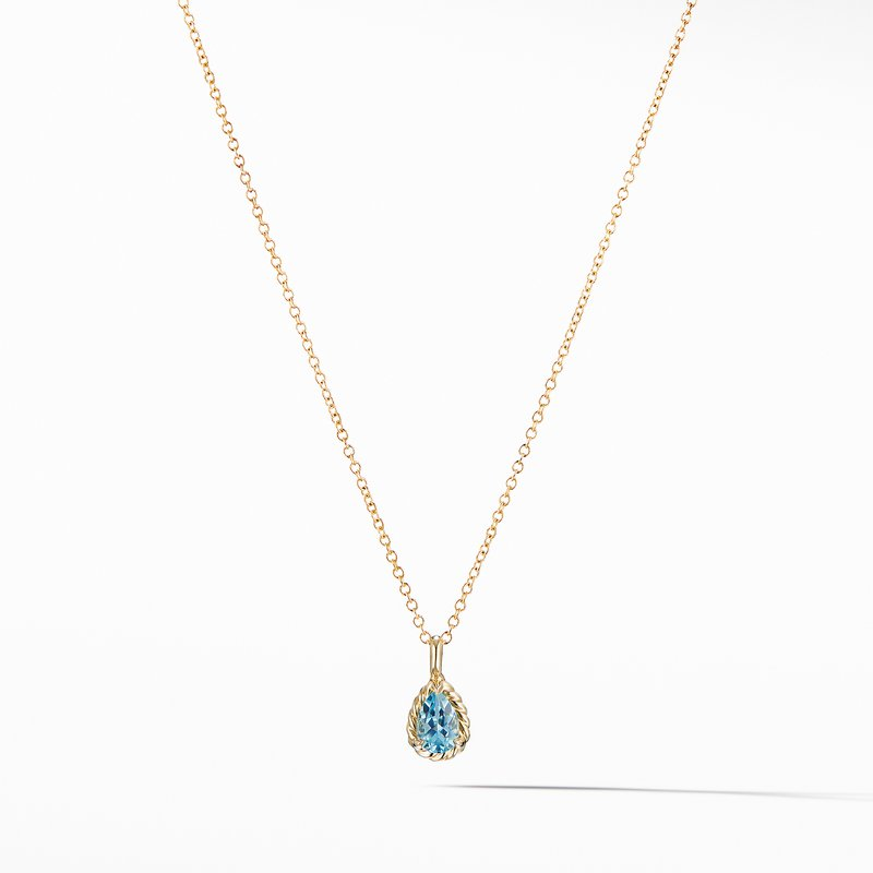 David Yurman Cable Collectibles® Kids Teardrop Charm Necklace with Blue Topaz in 18K Gold