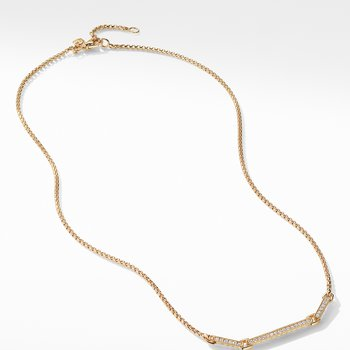 Petite Pavé Necklace with Diamonds in 18K Gold