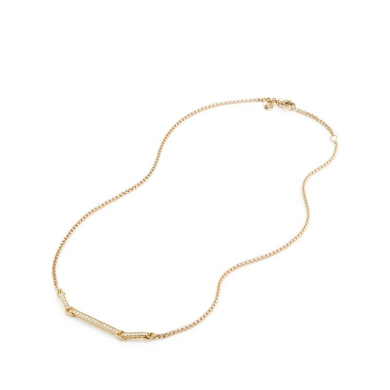 David Yurman Petite Pavé Necklace with Diamonds in 18K Gold