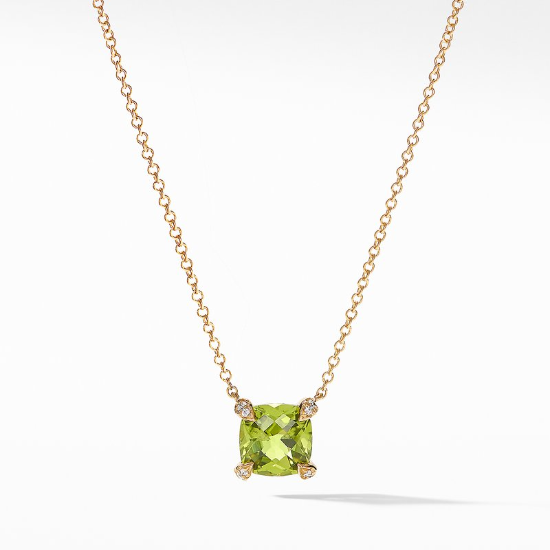 David Yurman Pendant Necklace with Peridot and Diamonds in 18K Gold