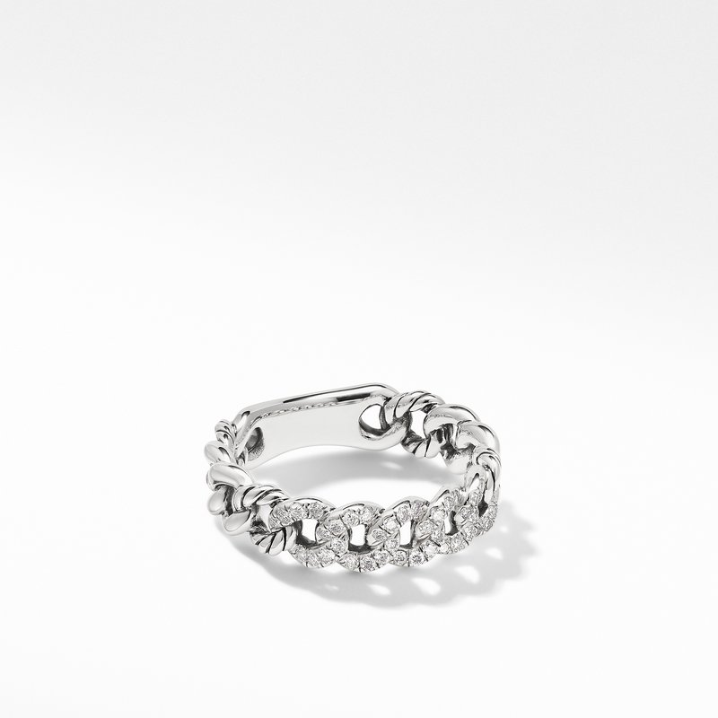 David Yurman Belmont Curb Link Narrow Ring with Pavé Diamonds