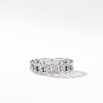 Belmont Curb Link Narrow Ring with Pavé Diamonds