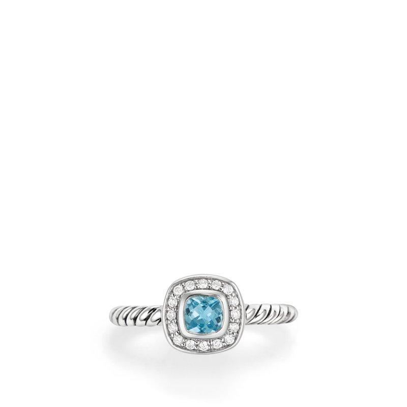 David Yurman Albion® Kids Ring with Blue Topaz and Diamonds, 4mm