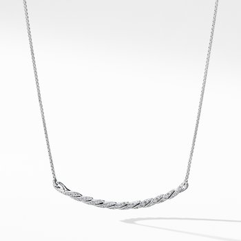 Paveflex Station Necklace with Diamonds in 18K White Gold