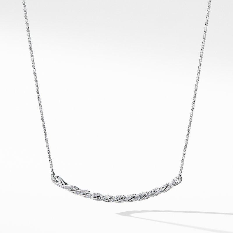 David Yurman Paveflex Station Necklace with Diamonds in 18K White Gold