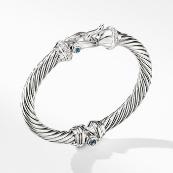 Cable Buckle Bracelet with Hampton Blue Topaz and Diamonds