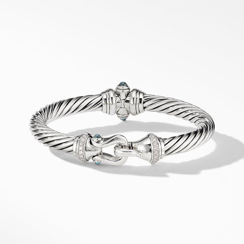 David Yurman Cable Buckle Bracelet with Hampton Blue Topaz and Diamonds
