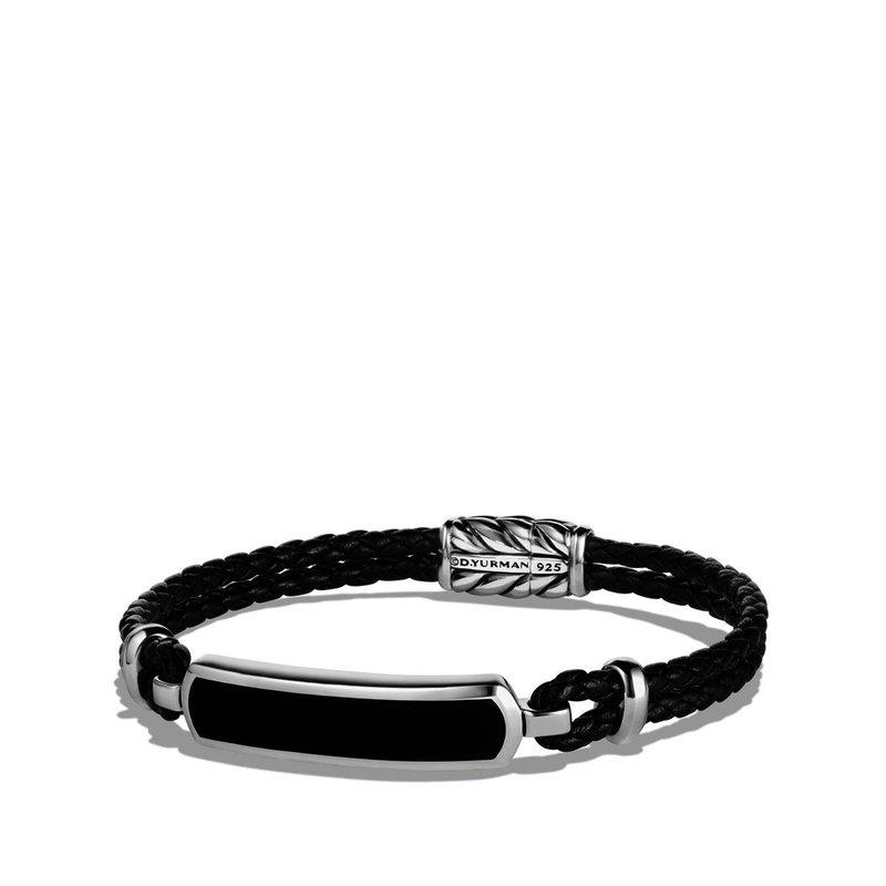 David Yurman Station Black Leather Bracelet with Black Onyx