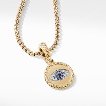 Evil Eye Aumlet with Diamonds and Blue Saphires in 18k Gold