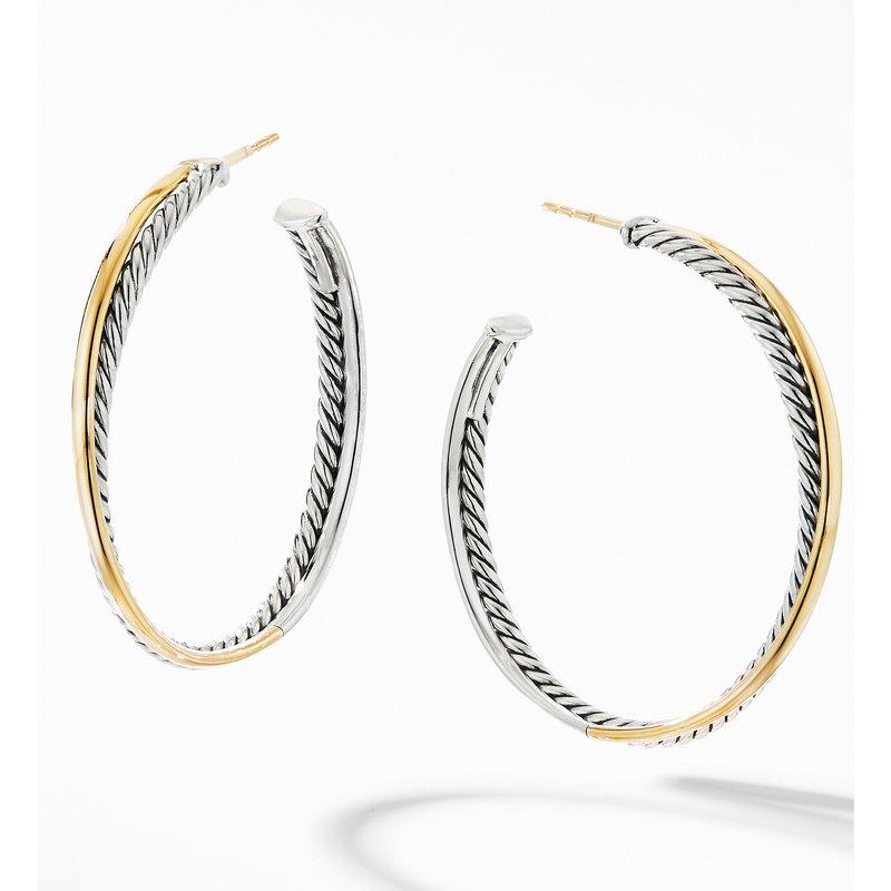David Yurman Crossover XL Hoop Earrings with 18K Yellow Gold