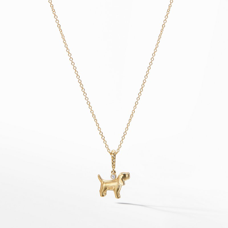 David Yurman Cable Collectibles® Kids Dog Charm Necklace in 18K Gold with Diamonds