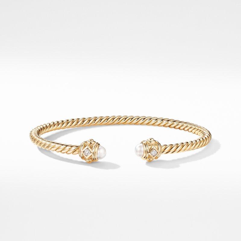 David Yurman Renaissance Bracelet in 18K Yellow Gold with Pearls and Diamonds