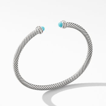 Cable Classic Bracelet with Turquoise and Diamonds