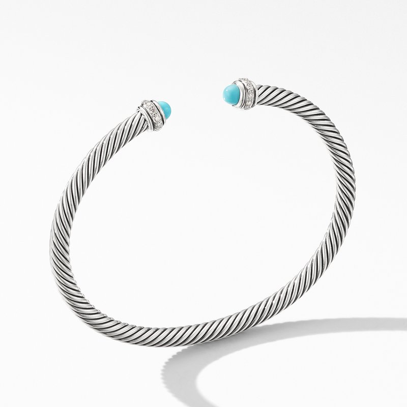 David Yurman Cable Classic Bracelet with Turquoise and Diamonds