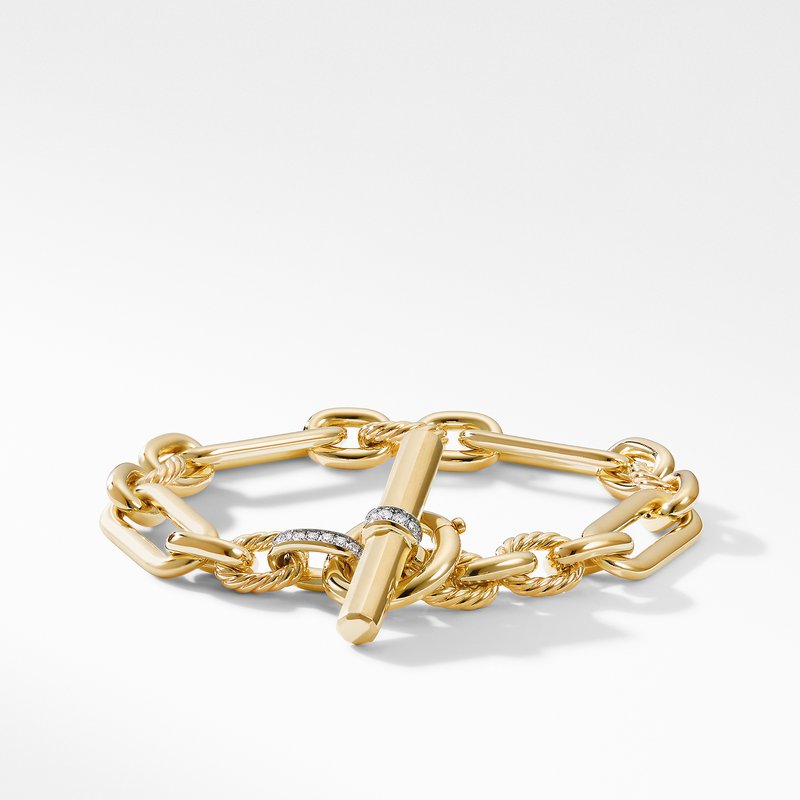 David Yurman Lexington Chain Bracelet in 18K Yellow Gold with Diamonds