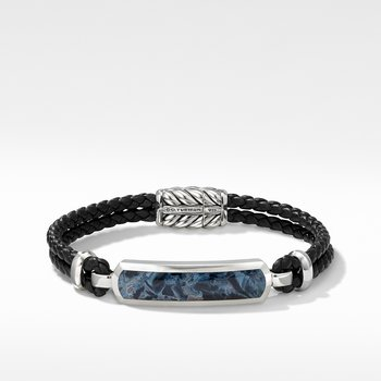 Exotic Stone Bar Station Leather Bracelet with Pietersite