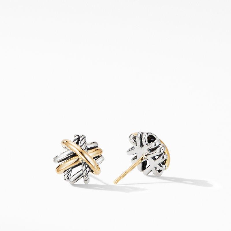 David Yurman Crossover Stud Earrings with 18K Yellow Gold