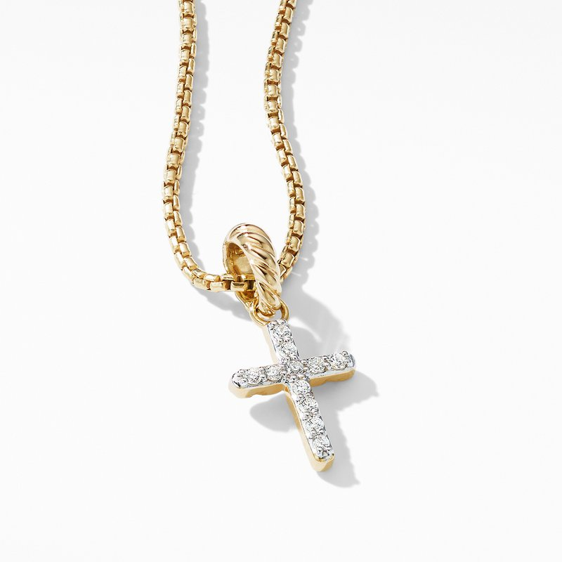 David Yurman Cable Collectibles® Cross Pendant in 18K Yellow Gold with Diamonds