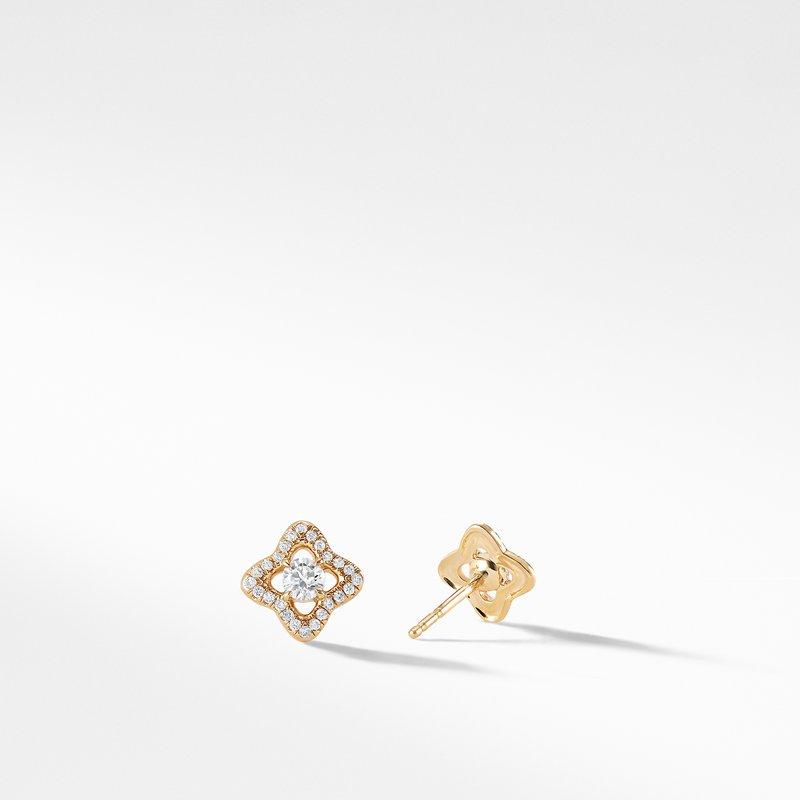 David Yurman Venetian Quatrefoil® Earrings with Diamonds in 18K Gold