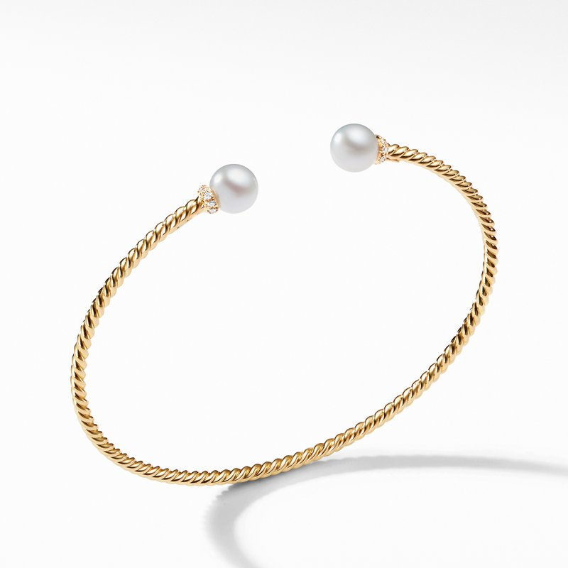 David Yurman Solari Pearl Bracelet in 18K Yellow Gold with Diamonds