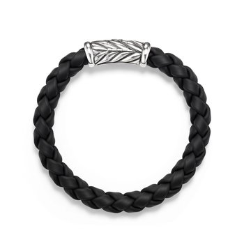 Chevron Rubber Weave Bracelet in Black