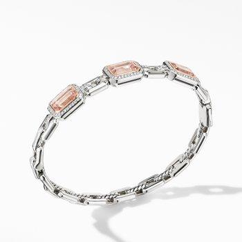 Novella Three Stone Bracelet with Morganite, Pavé Diamonds and 18K Rose Gold