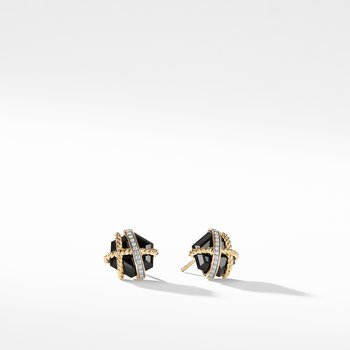 Cable Wrap Earrings with Black Onyx and Diamonds in Gold