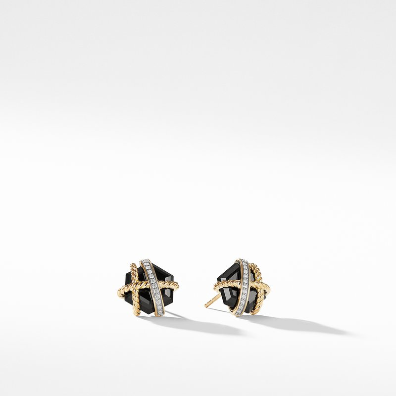 David Yurman Cable Wrap Earrings with Black Onyx and Diamonds in Gold