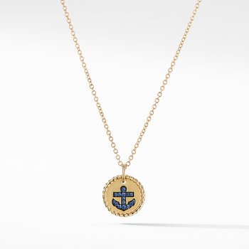Cable Collectibles Anchor Necklace with Light Blue Sapphires in 18K Gold