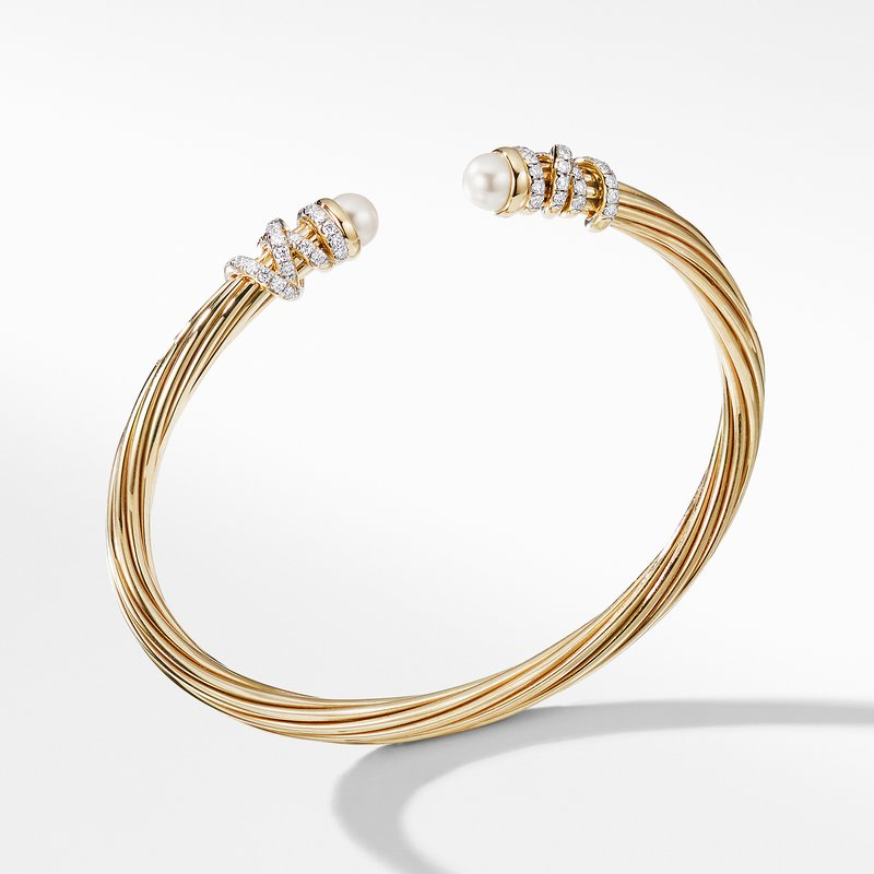 David Yurman Helena End Station Bracelet in 18K Yellow Gold with Pearls and Diamonds