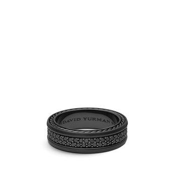 Streamline® Two Row Band in Black Titanium with Black Diamonds