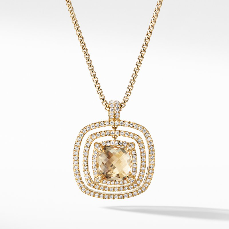 David Yurman Chatelaine Pave Bezel Enhancer with Champagne Citrine and Diamonds in 18K Gold, 26mm