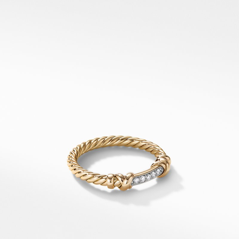 David Yurman Petite Helena Wrap Ring in 18K Yellow Gold with Diamonds