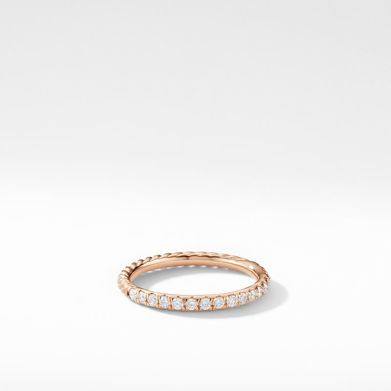 David Yurman Cable Pavé Band Ring in 18K Rose Gold with Diamonds