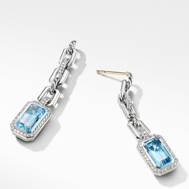 David Yurman Novella Chain Link Drop Earrings with Blue Topaz and Pavé Diamonds