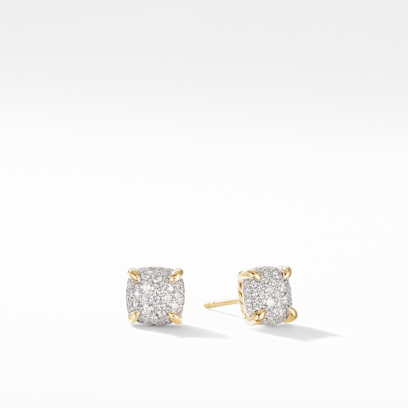 David Yurman Chatelaine® Stud Earrings in 18K Yellow Gold with Full Pavé Diamonds