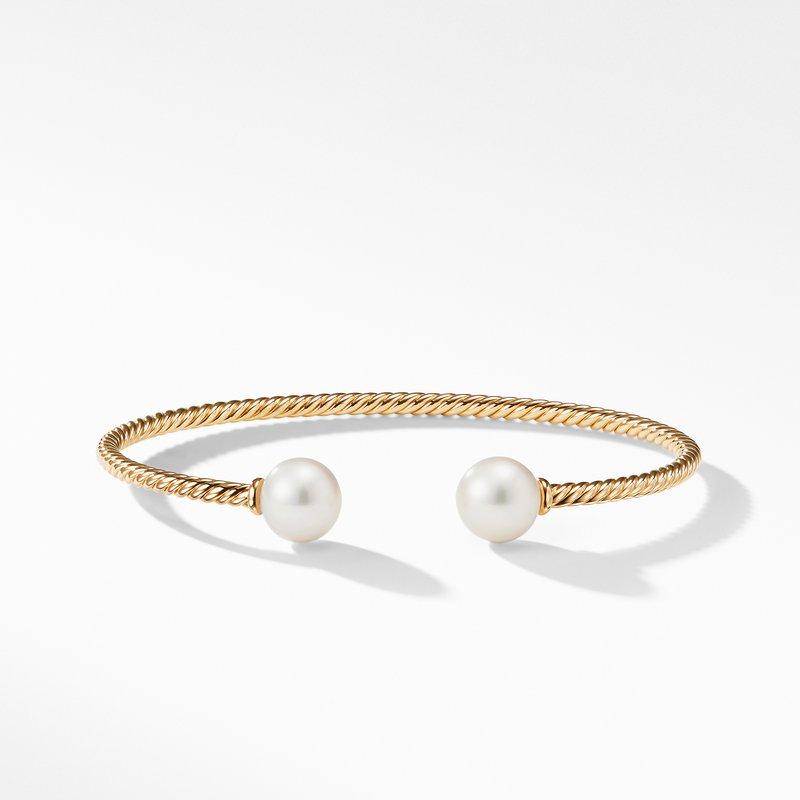 David Yurman Solari Bead Bracelet with Pearl in 18K Gold