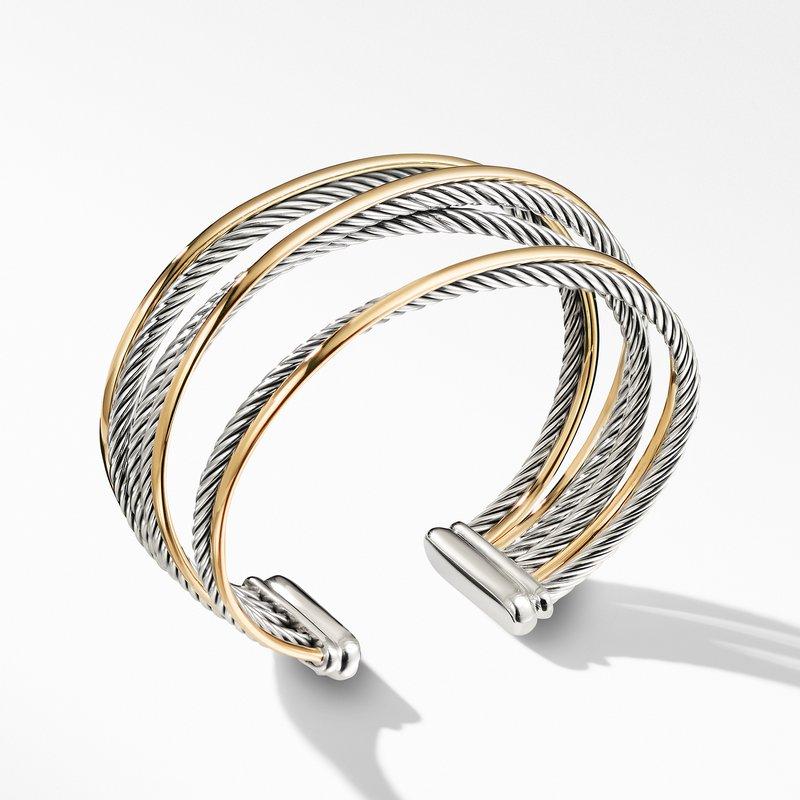 David Yurman Four-Row Cuff Bracelet with Gold