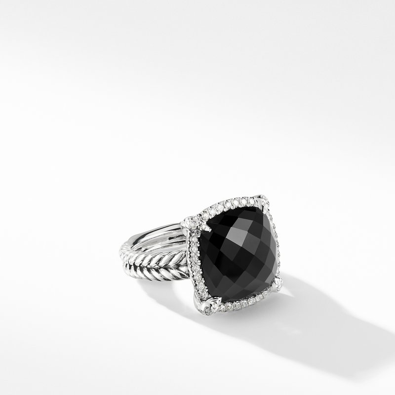 David Yurman Chatelaine® Pave Bezel Ring with Black Onyx and Diamonds 1