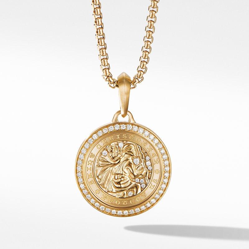 David Yurman St. Christopher Amulet in 18K Yellow Gold with Pavé Diamonds
