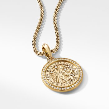 St. Christopher Amulet in 18K Yellow Gold with Pavé Diamonds