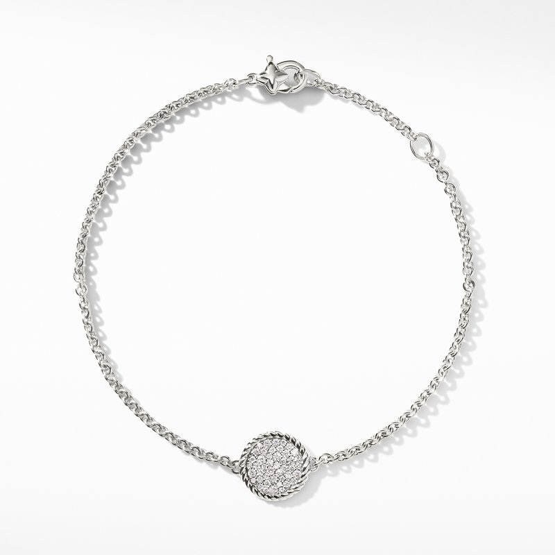 David Yurman Cable Collectibles Pavé Plate Charm Bracelet with Diamonds in 18K White Gold