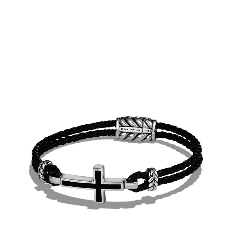 David Yurman Cross Station Leather Bracelet with Black Onyx