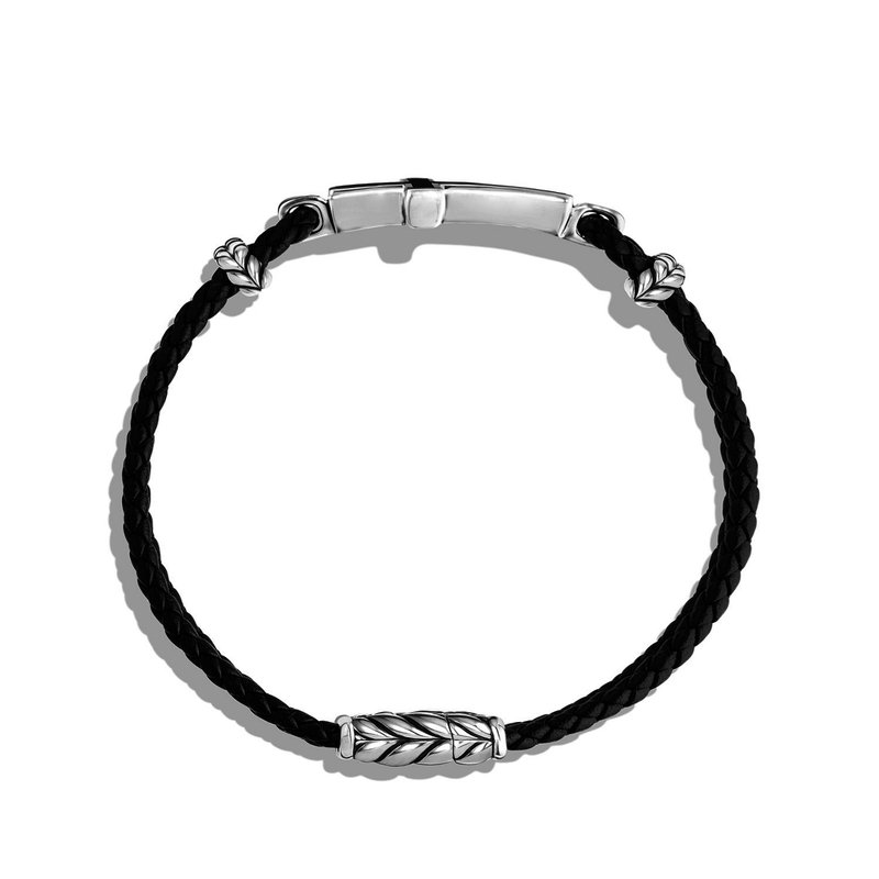 David Yurman Cross Station Leather Bracelet with Black Onyx